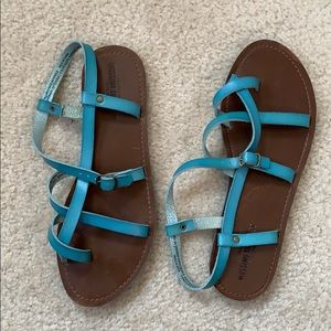 Missimo supply strappy teal gladiator sandals